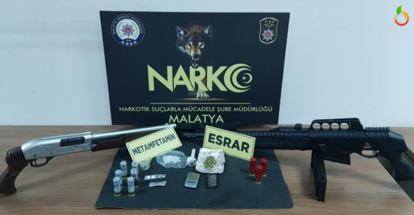 Malatya'da uyuşturucu ve Silah Yakalandı