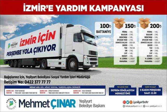 Yeşilyurt Belediyesi'nden İzmir'e Destek