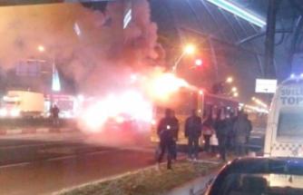Malatya'da Yolcu Otobüsünde Yangın Çıktı