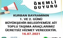 Belediye Otobüsleri Kurban Bayramının 1'inci Ve 2'inci Günü Ücretsiz Hizmet Verecek
