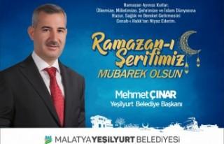 Başkan Çınar'dan ramazan ayı kutlama mesajı;