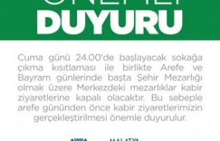 Malatya'da Kabir Ziyaretleri Arefe Öncesi Yapılacak