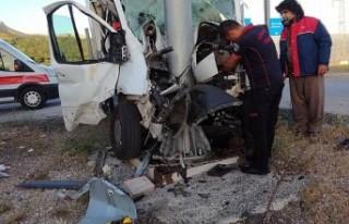Malatya'da kamyonet levha direğine çarptı......