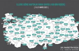İl il vaka haritası güncellendi! Malatya'da...